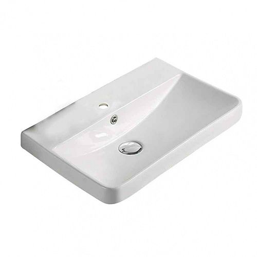 19.88-inch W 13.98-inch Above Counter D Ceramic Top in White Color for 1 Hole Faucet