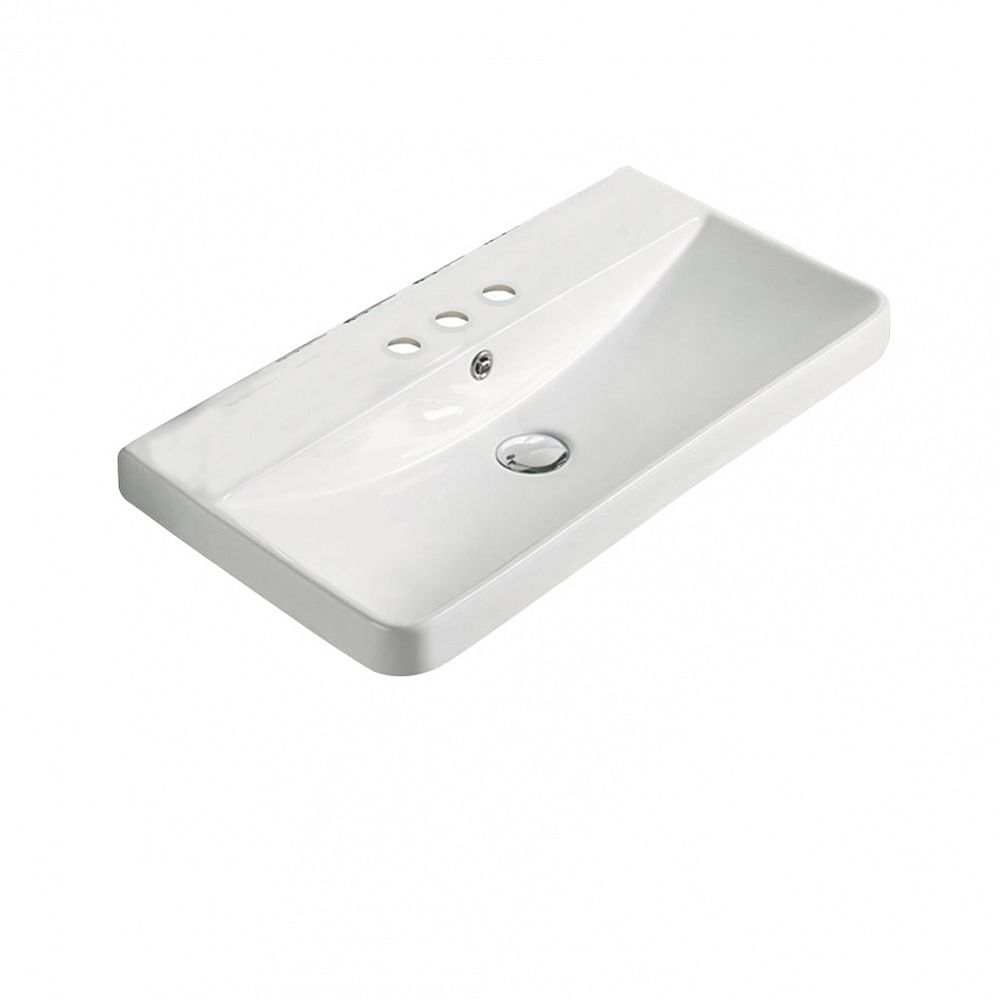 American Imaginations 23.82-inch W 13.98-inch Above Counter D Ceramic Top in White Color for 3H4-inch Faucet