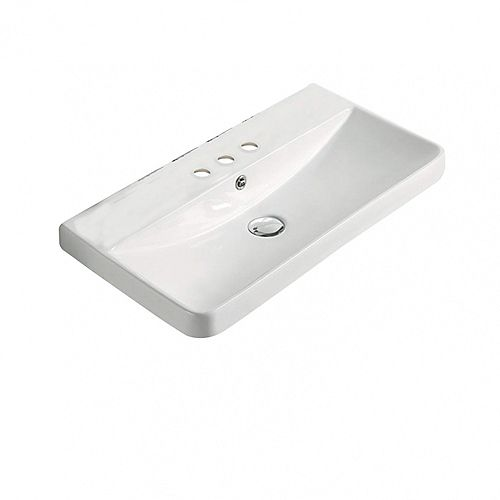 23.82-inch W 13.98-inch Wall Mount D Ceramic Top in White Color for 3H4-inch Faucet
