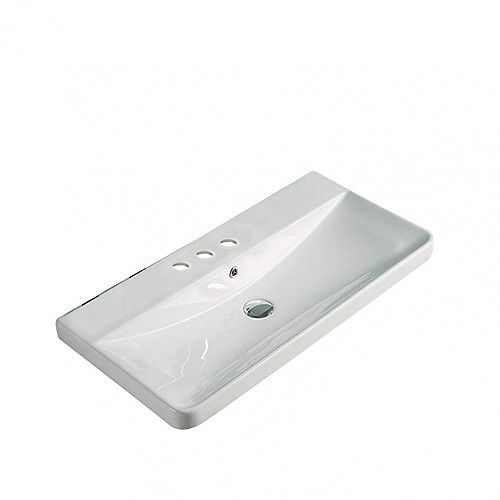 31.89-inch W 15.55-inch Above Counter D Ceramic Top in White Color for 3H4-inch Faucet