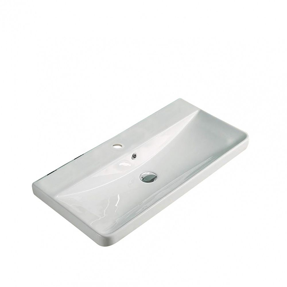 American Imaginations 31.89-inch W 15.55-inch Wall Mount D Ceramic Top in White Color for 1 Hole Faucet