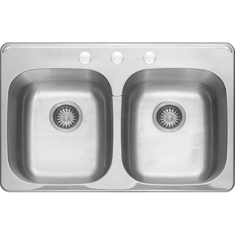 American Standard Colony 31x20 Top Mount Double Bowl Kitchen Sink