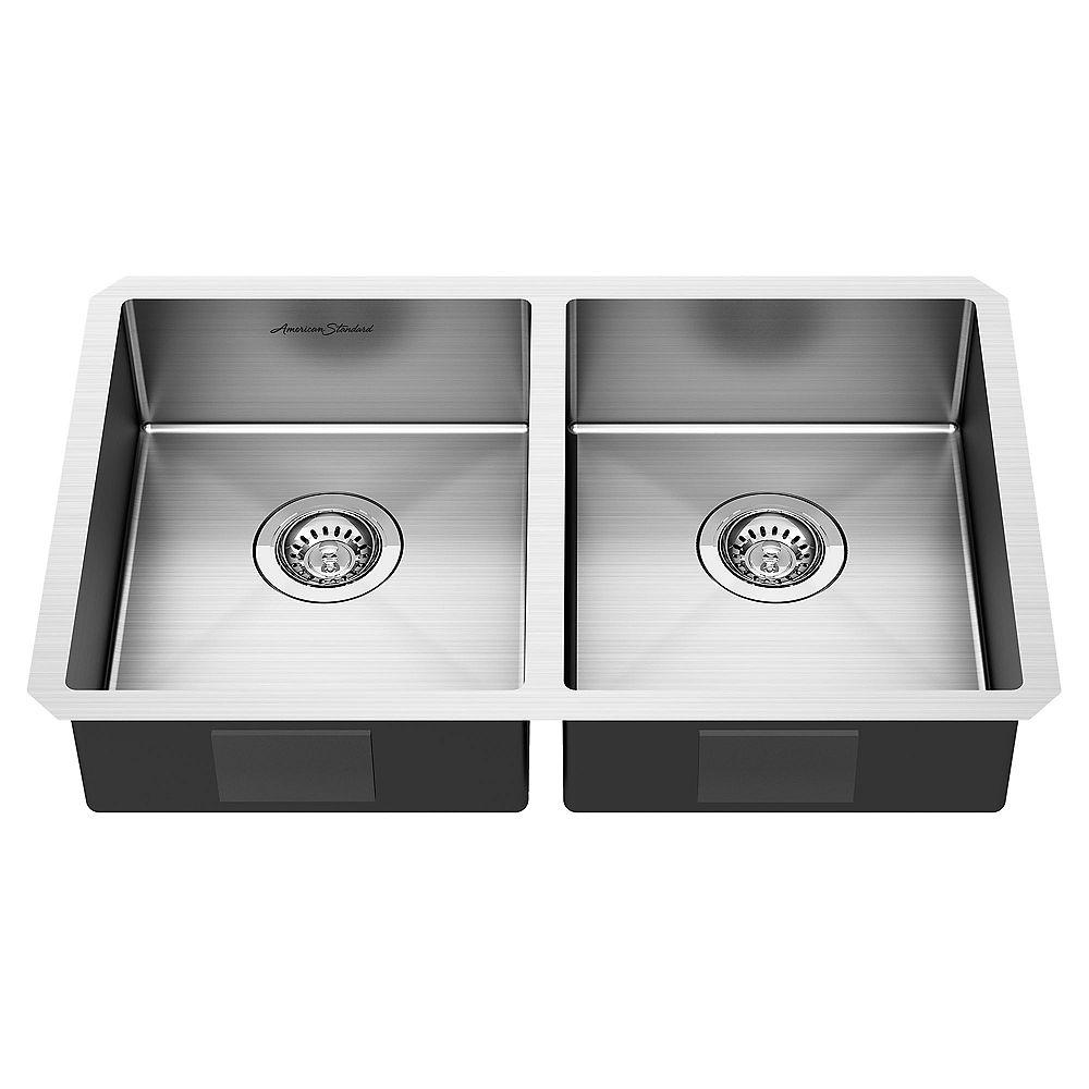 American Standard Pekoe 29x18-inch ADA Double Bowl Stainless Steel Kitchen Sink
