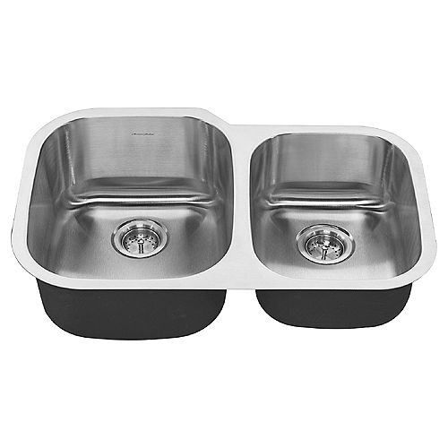 Portsmouth 31x20-inch Offset Double Bowl Stainless Steel Kitchen Sink