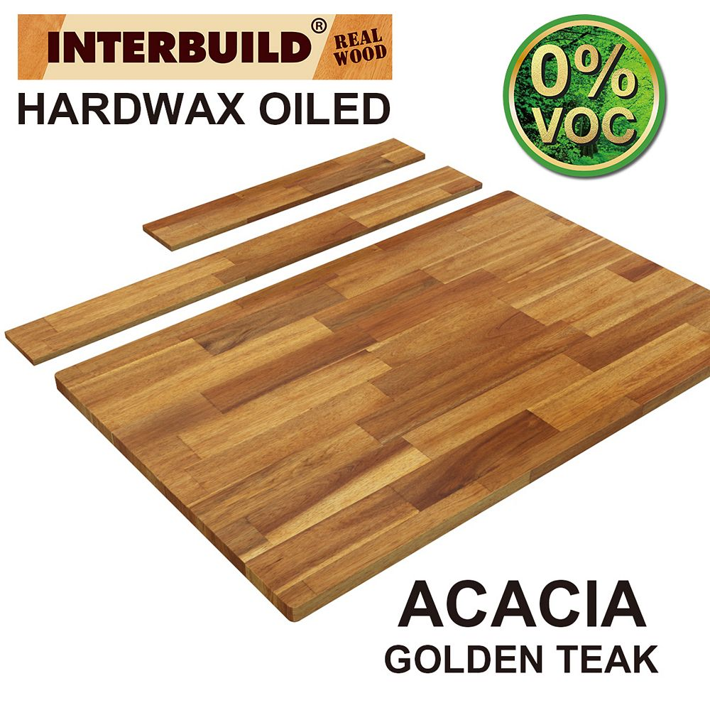 INTERBUILD 37 x 24 x 1 Acacia Hardwood Bathroom Vanity Countertop with Backsplash, Golden Teak Finish
