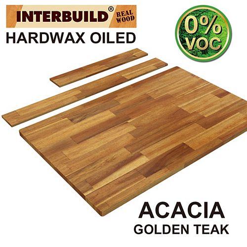 37 x 24 x 1 Acacia Hardwood Bathroom Vanity Countertop with Backsplash, Golden Teak Finish