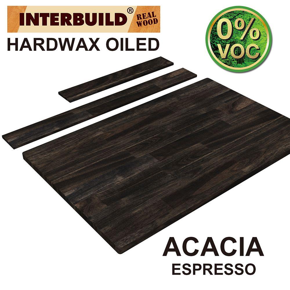 INTERBUILD 37 x 24 x 1 Acacia Hardwood Bathroom Vanity Countertop with Backsplash, Espresso Hardwax Finish