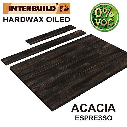 37 x 24 x 1 Acacia Hardwood Bathroom Vanity Countertop with Backsplash, Espresso Hardwax Finish