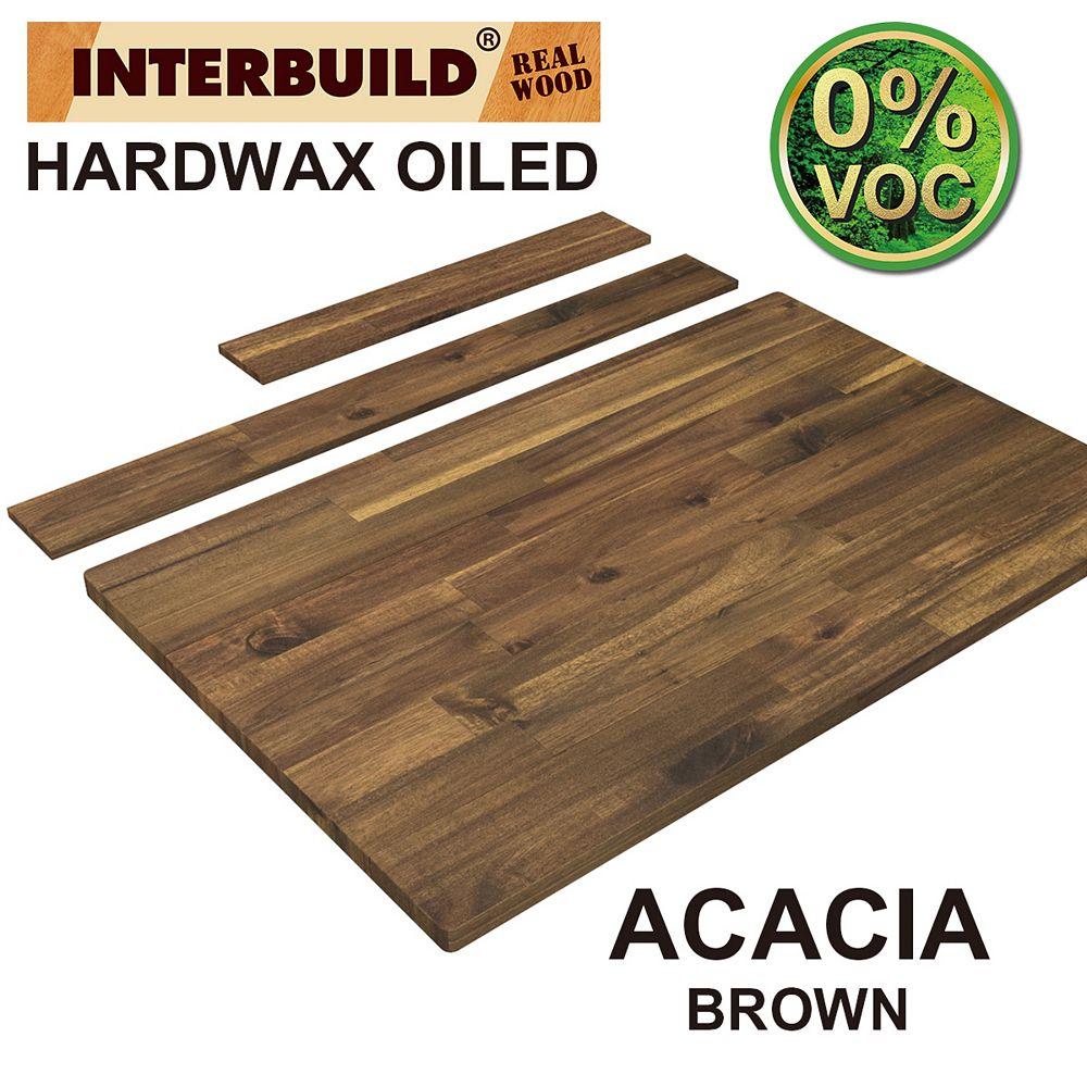 INTERBUILD 37 x 24 x 1 Acacia Hardwood Bathroom Vanity Countertop with Backsplash, Brown Hardwax Finish