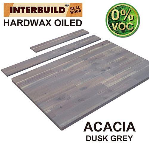 37 x 24 x 1 Acacia Hardwood Bathroom Vanity Countertop with Backsplash, Dusk Grey Hardwax Finish
