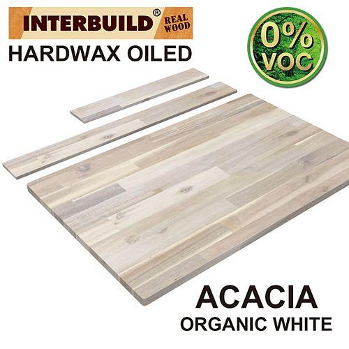 37 x 24 x 1 Acacia Hardwood Bathroom Vanity Countertop with Backsplash, Organic White Hardwax Finish