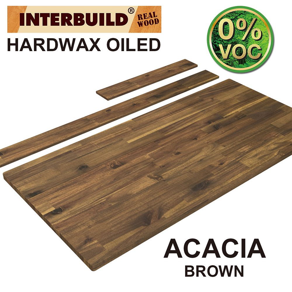 INTERBUILD 49 x 24 x 1 Acacia Hardwood Bathroom Vanity Countertop with Backsplash, Brown Finish