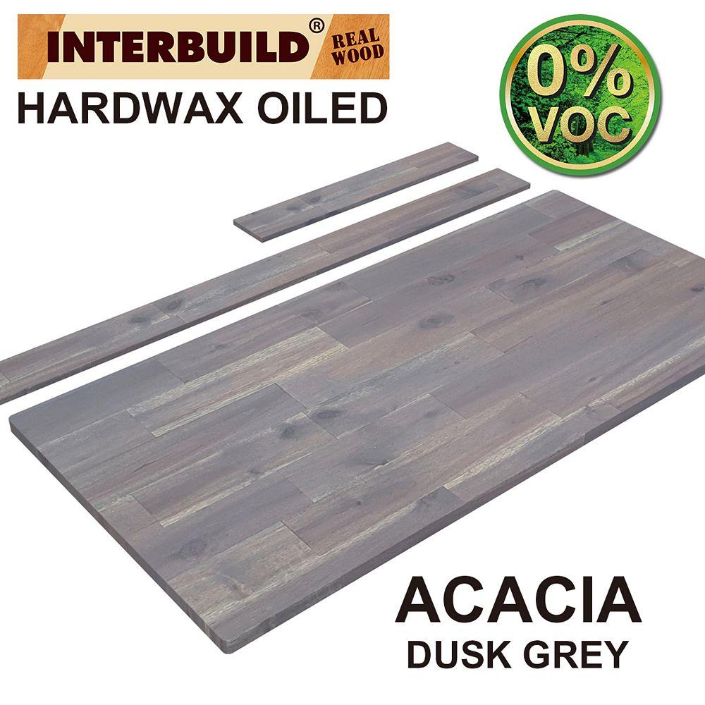 INTERBUILD 49 x 24 x 1 Acacia Vanity Top with Backsplash, Dusk Grey
