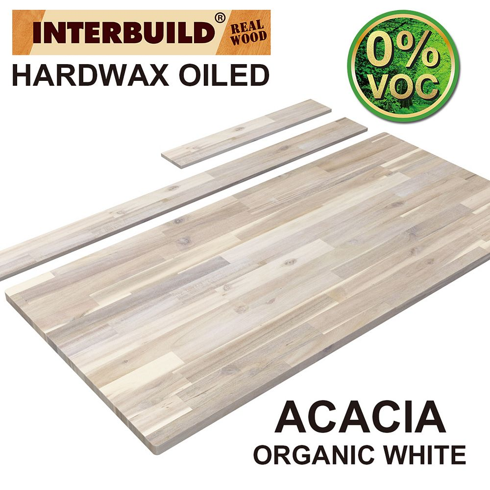 INTERBUILD 49 x 24 x 1 Acacia Vanity Top with Backsplash, Organic White