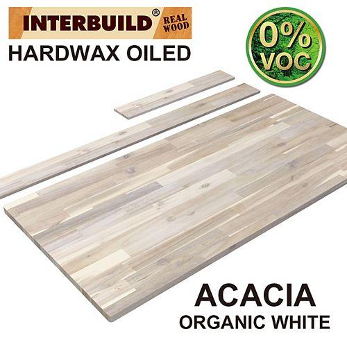 49 x 24 x 1 Acacia Vanity Top with Backsplash, Organic White