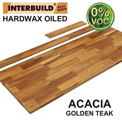 61 x 24 x 1 Acacia Vanity Countertop with Backsplash, Golden Teak