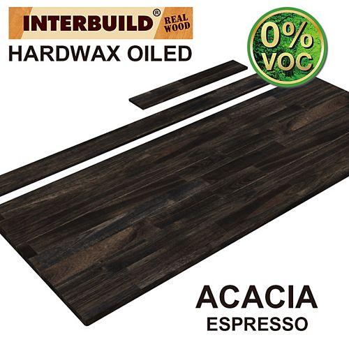 61 x 24 x 1 Acacia Vanity Countertop with Backsplash, Espresso