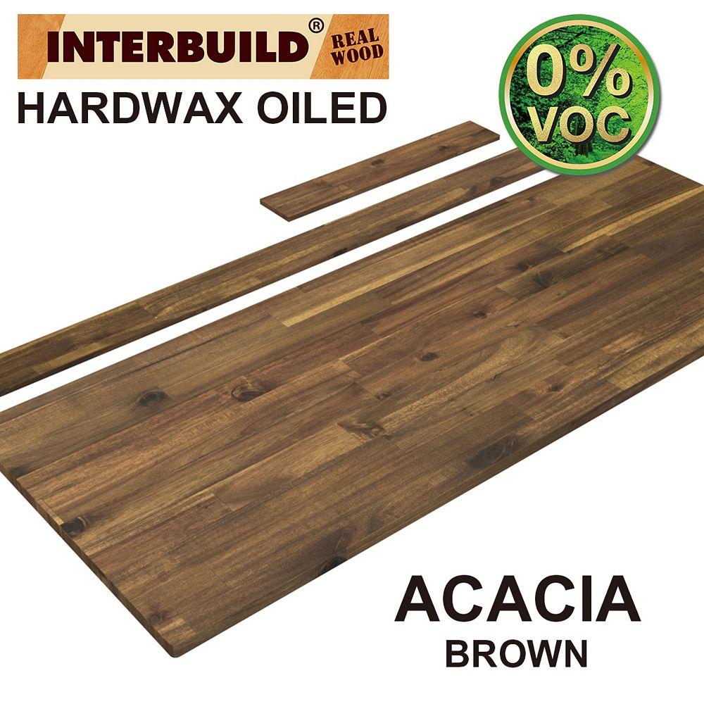 INTERBUILD 61 x 24 x 1 Acacia Vanity Countertop with Backsplash, Brown