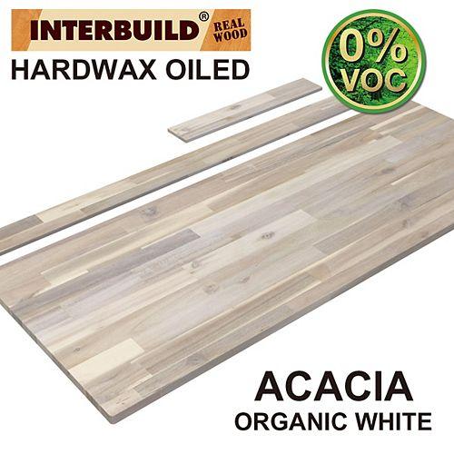 61 x 24 x 1 Acacia Vanity Countertop with Backsplash, Organic White