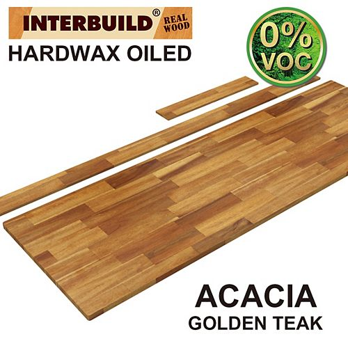 73 x 24 x 1 Acacia Vanity Countertop with Backsplash, Golden Teak