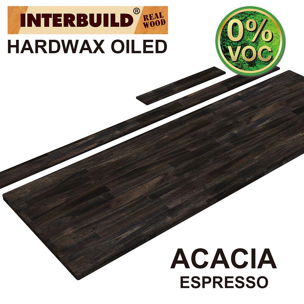 INTERBUILD 73 x 24 x 1 Acacia Vanity Countertop with Backsplash, Espresso