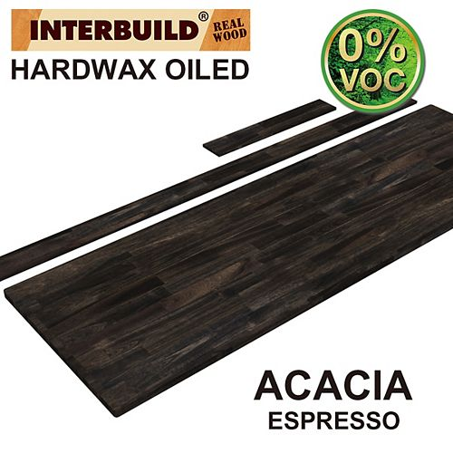 73 x 24 x 1 Acacia Vanity Countertop with Backsplash, Espresso