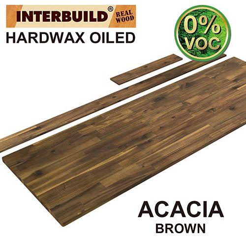 73 x 24 x 1 Acacia Vanity Countertop with Backsplash, Brown