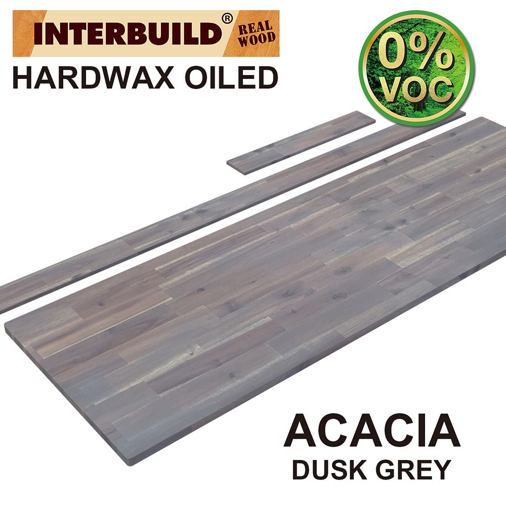 INTERBUILD 73 x 24 x 1 Acacia Vanity Countertop with Backsplash, Dusk Grey