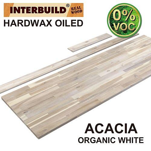 73 x 24 x 1 Acacia Vanity Countertop with Backsplash, Organic White