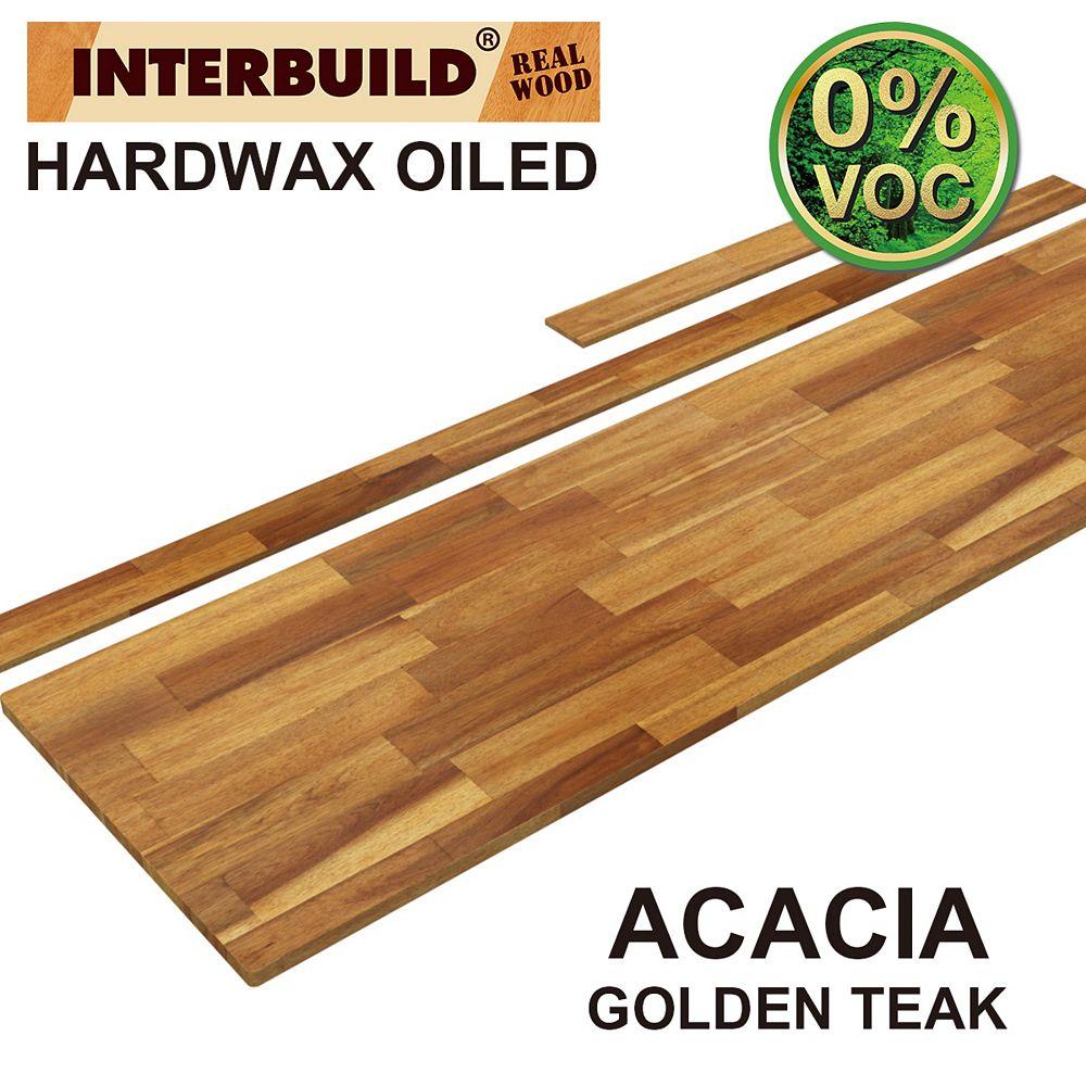 INTERBUILD 85 x 24 x 1 Acacia Vanity Top with Backsplash, Golden Teak
