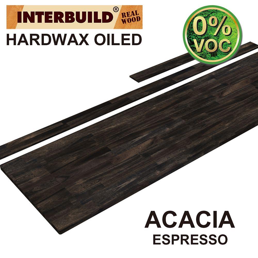 INTERBUILD 85 x 24 x 1 Acacia Vanity Top with Backsplash, Espresso