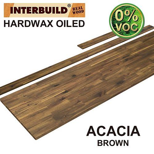 85 x 24 x 1 Acacia Vanity Top with Backsplash, Brown