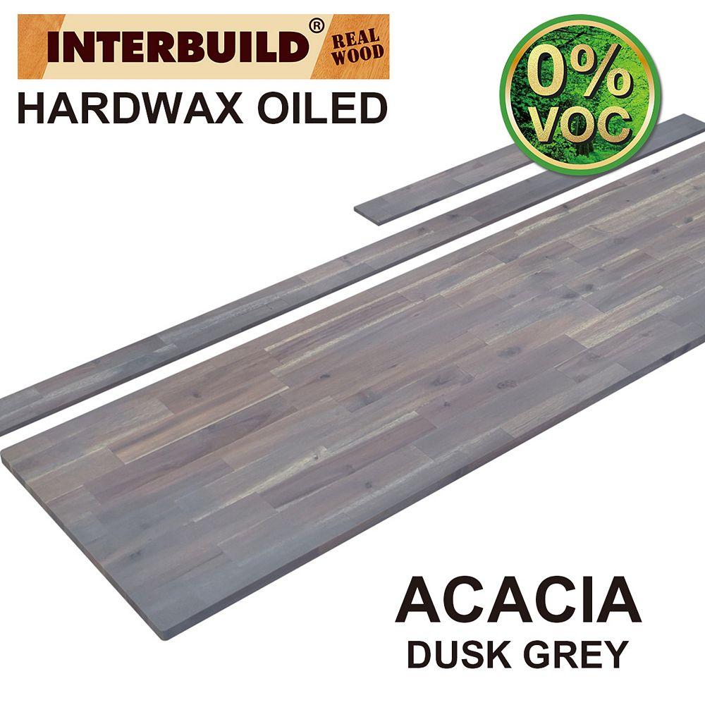 INTERBUILD 85 x 24 x 1 Acacia Vanity Top with Backsplash, Dusk Grey