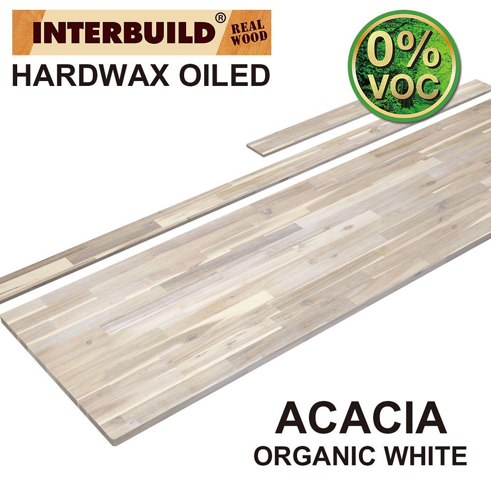 INTERBUILD 85 x 24 x 1 Acacia Vanity Top with Backsplash, Organic White
