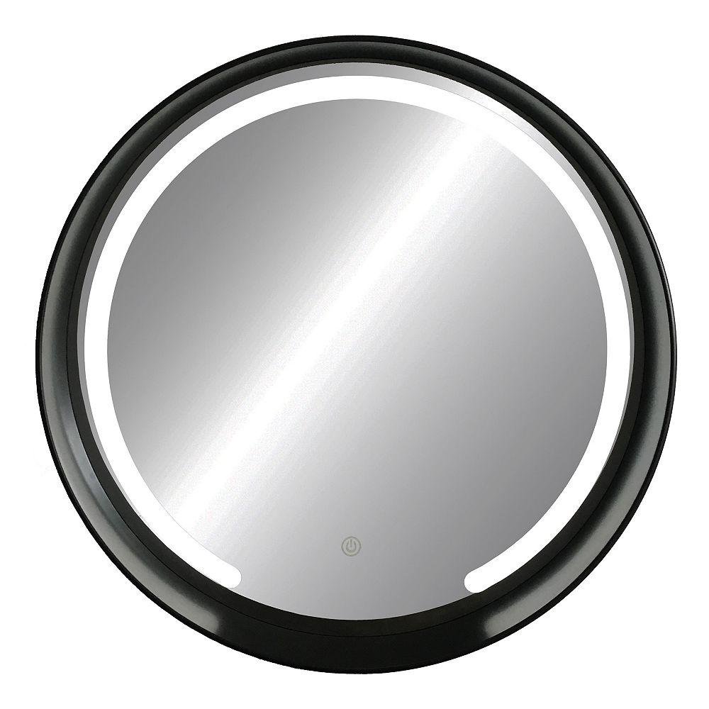 The Tangerine Mirror Company Parsons 27.5-inch x 27.5-inch x 3.3-inch Round Black LED Mirror