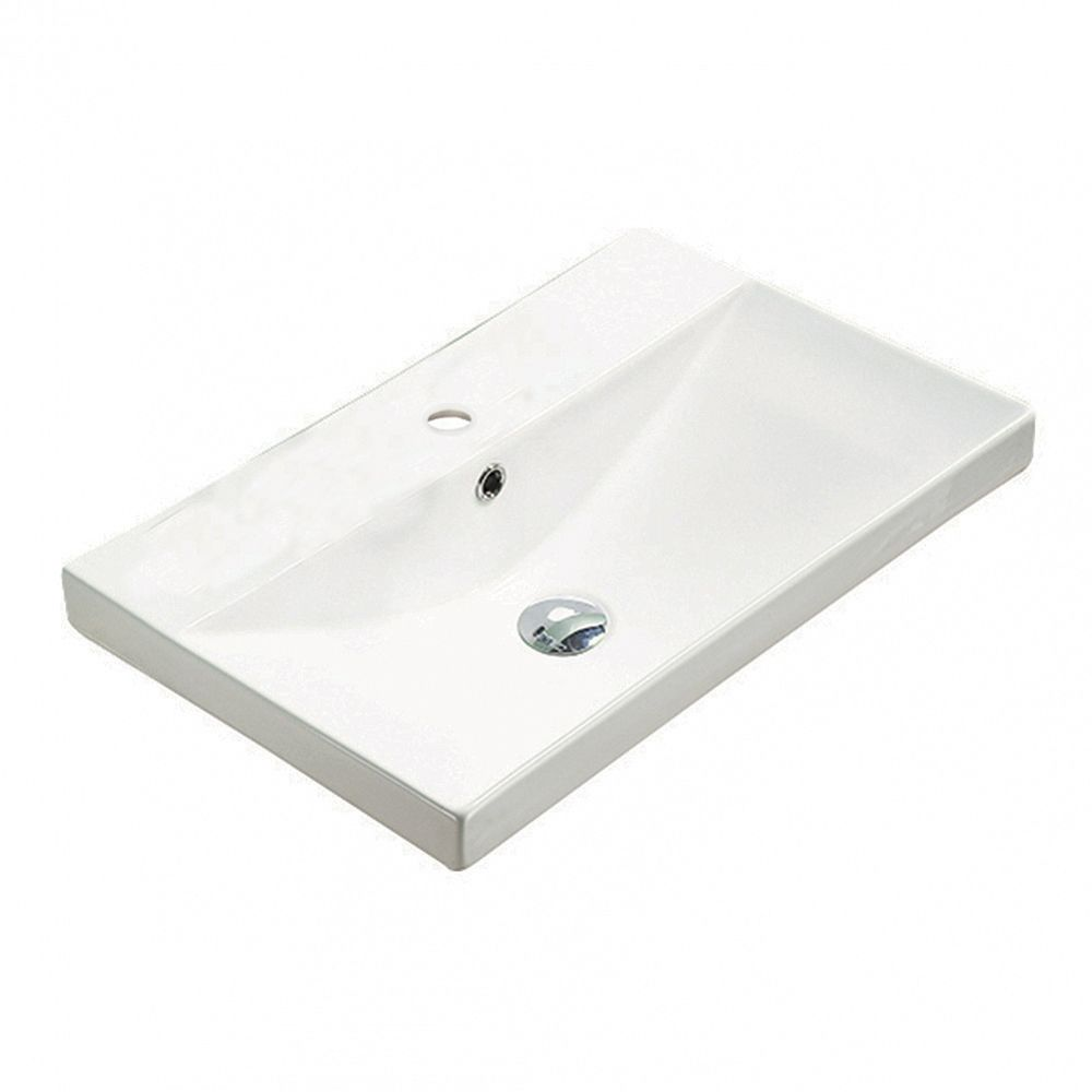 American Imaginations 23.86-inch W 15.51-inch Wall Mount D Ceramic Top in White Color for 1 Hole Faucet