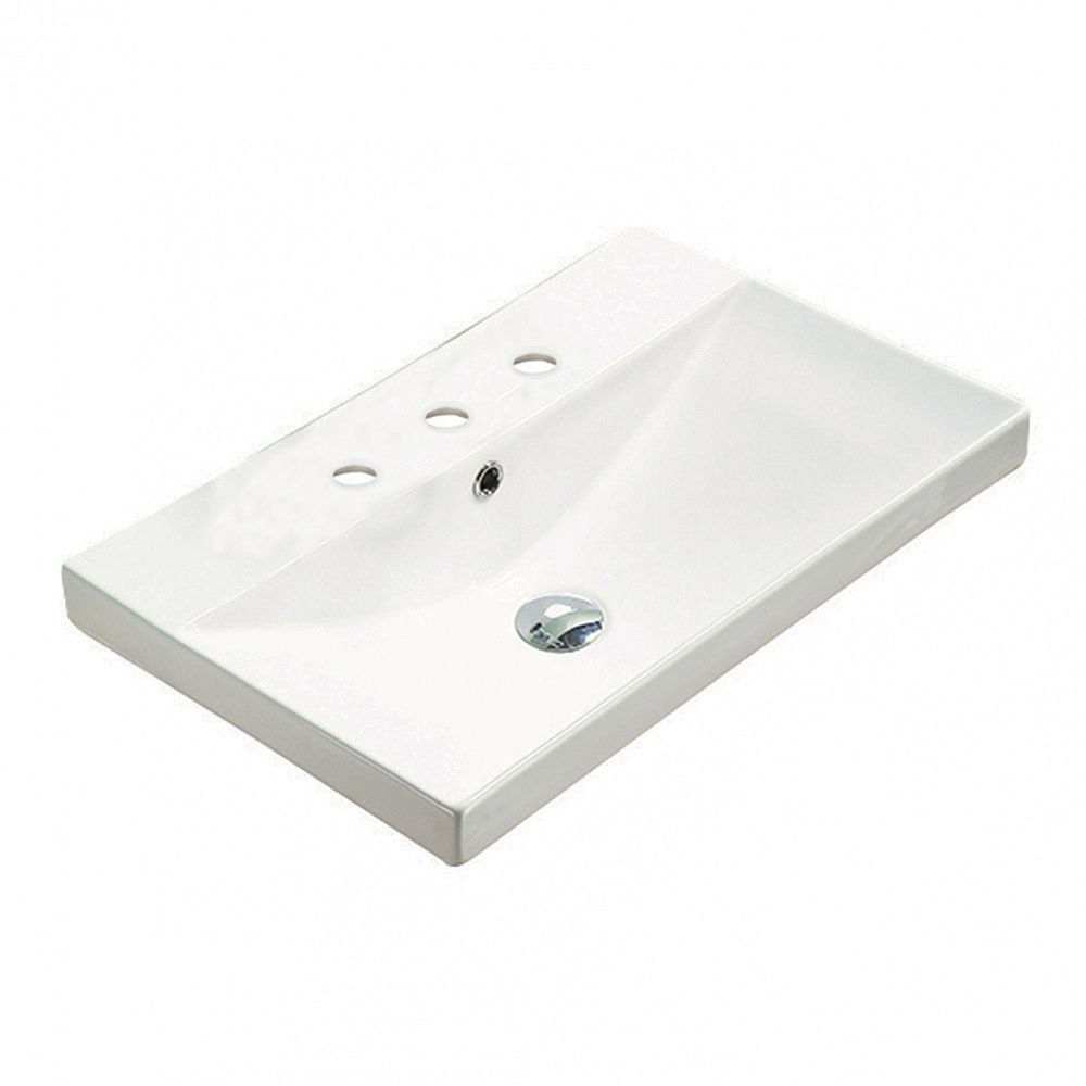American Imaginations 23.86-inch W 15.51-inch Above Counter D Ceramic Top in White Color for 3H8-inch Faucet