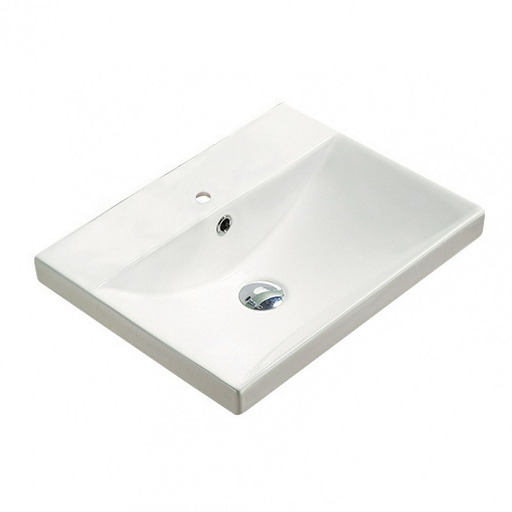 American Imaginations 20.10-inch W 15.51-inch Above Counter D Ceramic Top in White Color for 1 Hole Faucet