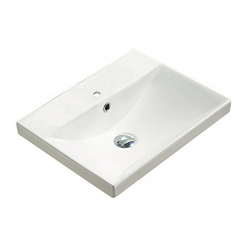 20.10-inch W 15.51-inch Above Counter D Ceramic Top in White Color for 1 Hole Faucet