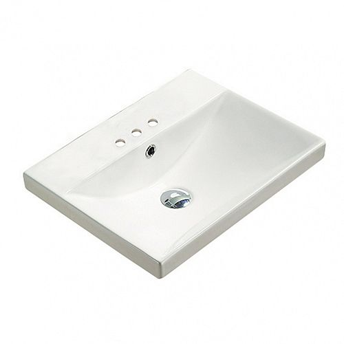 20.10-inch W 15.51-inch Wall Mount D Ceramic Top in White Color for 3H4-inch Faucet