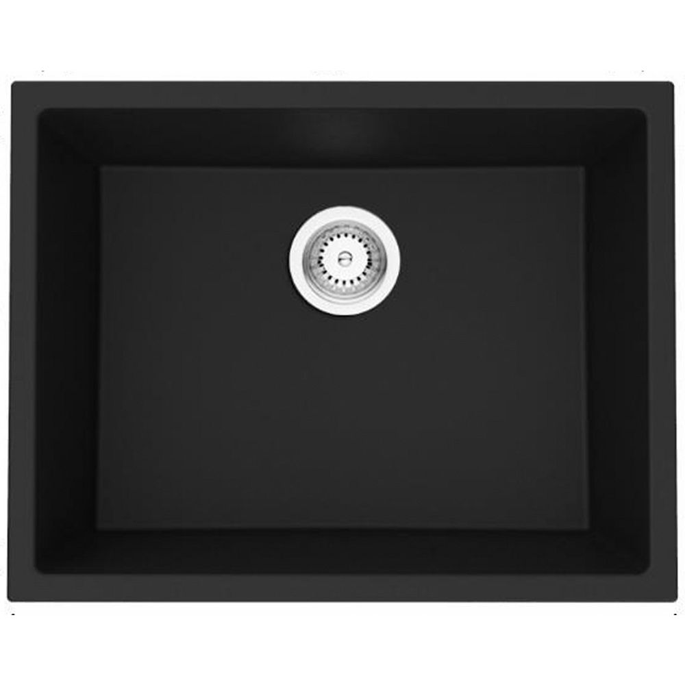 American Imaginations 23-inch W Wall Mount Black Granite Composite Kitchen Sink and 16 Gauge in Black Color
