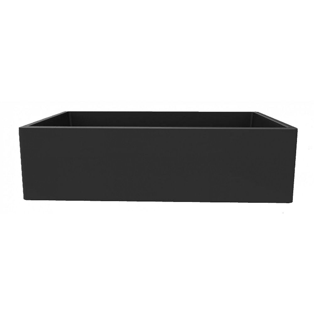 American Imaginations 33-inch W Wall Mount Black Granite Composite Kitchen Sink and 16 Gauge