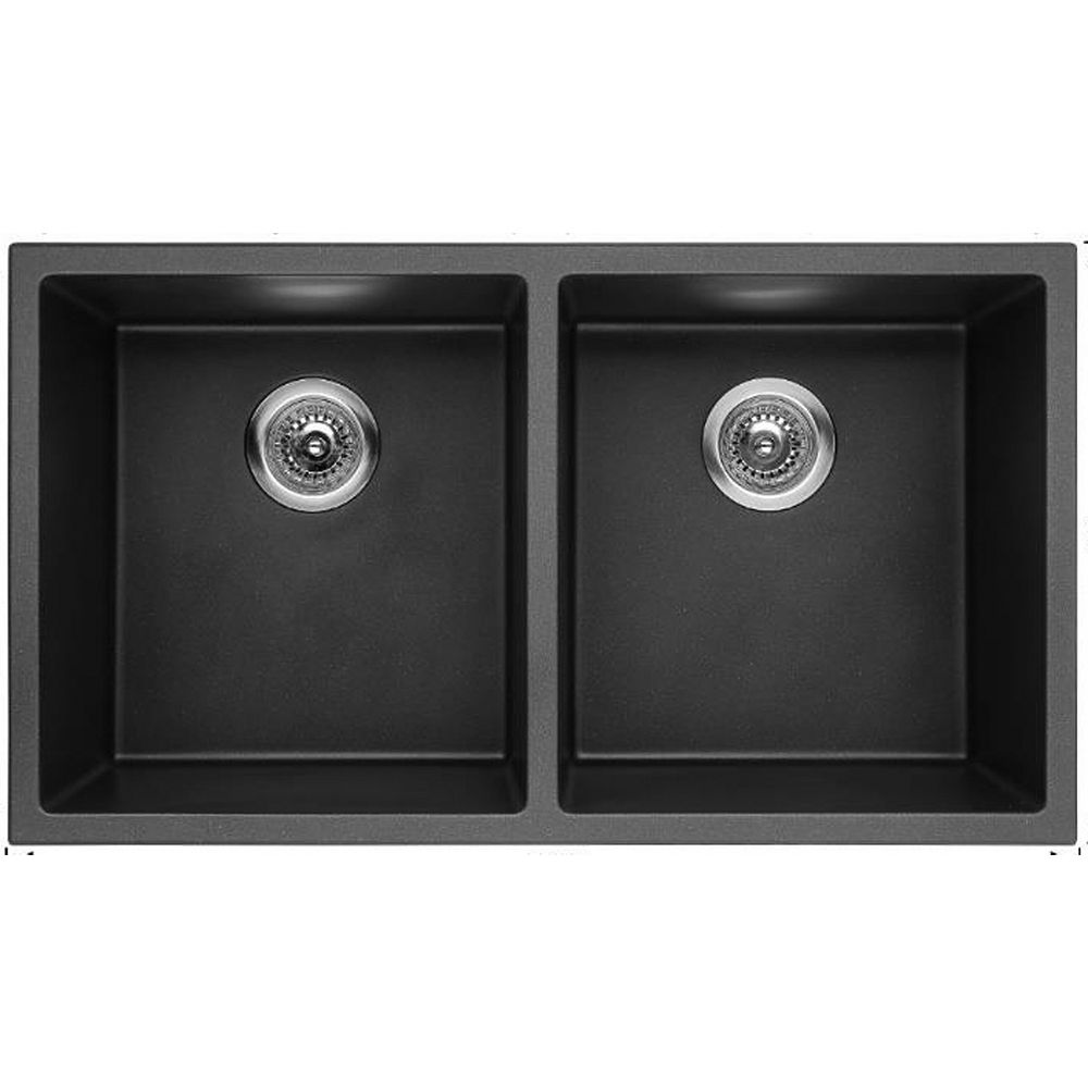 American Imaginations 32-inch W Deck Mount Black Granite Composite Kitchen Sink and 16 Gauge in Black Color