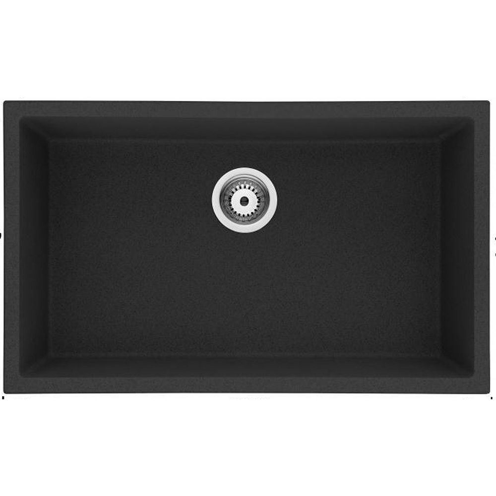 American Imaginations 30-inch W Wall Mount Black Granite Composite Kitchen Sink and 16 Gauge in Black Color