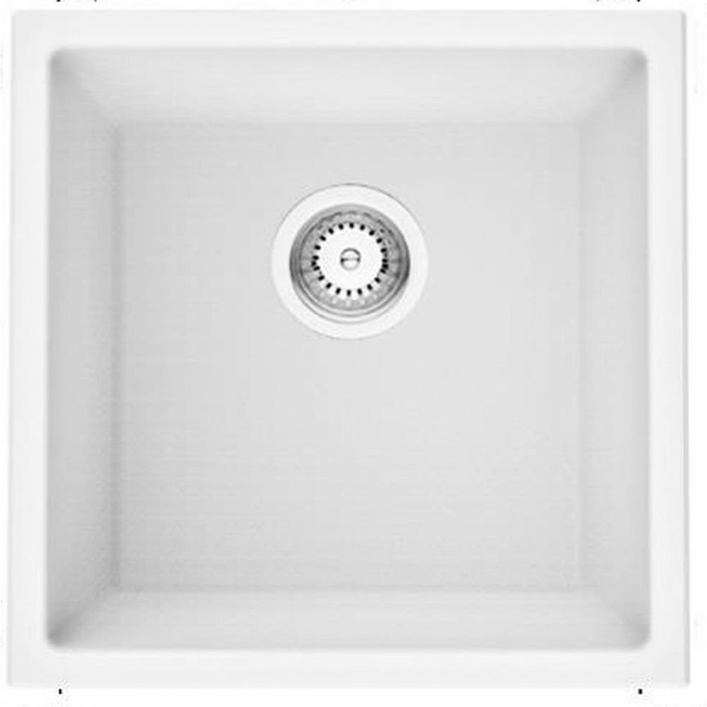American Imaginations 17-inch W Deck Mount White Granite Composite Kitchen Sink and 16 Gauge