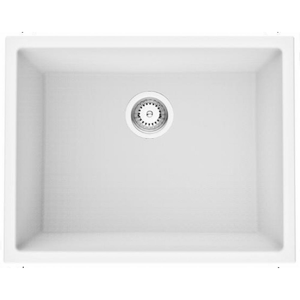 American Imaginations 23-inch W Deck Mount White Granite Composite Kitchen Sink and 16 Gauge