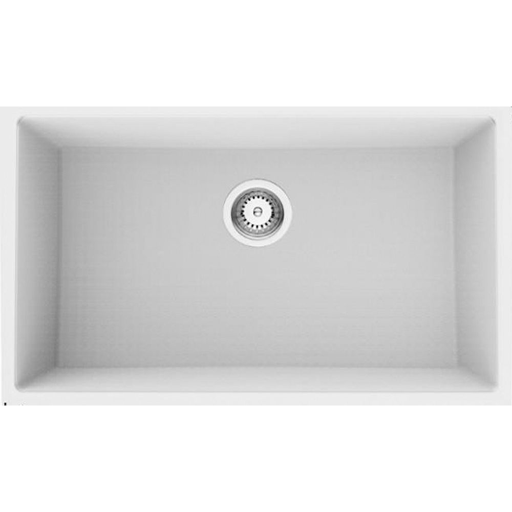 American Imaginations 30-inch W Wall Mount White Granite Composite Kitchen Sink and 16 Gauge
