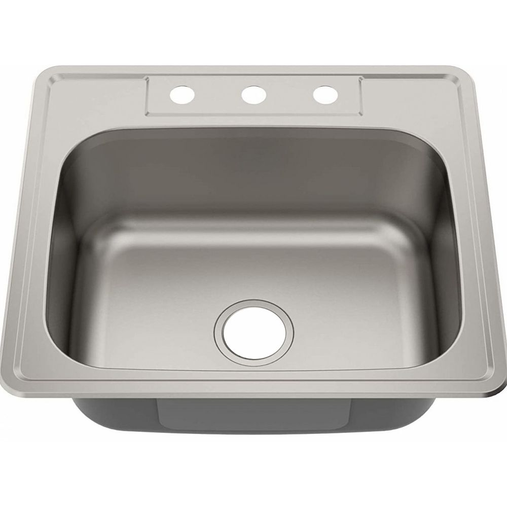 American Imaginations 25-inch W 3H8-inch Brushed Nickel Kitchen Sink and 20 Gauge in Brushed Nickel Color
