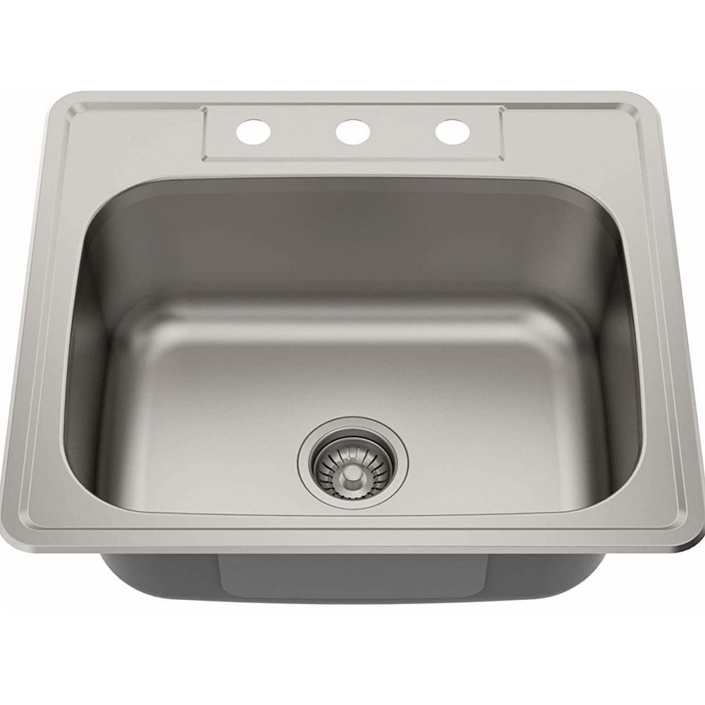 American Imaginations 25-inch W 3H8-inch Brushed Nickel Laundry Sink and 20 Gauge in Brushed Nickel Color