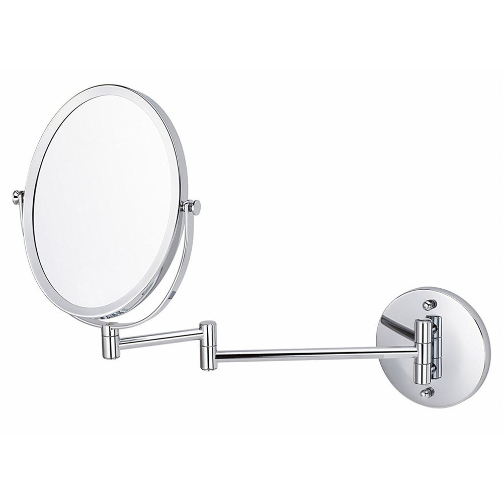 American Imaginations Oval 16.95-in x 13-in Wall-Mounted Magnifying Mirror in Brushed Nickel